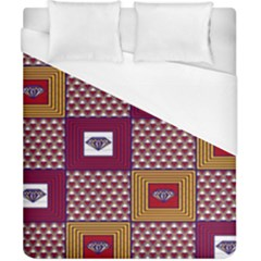 African Fabric Diamon Chevron Yellow Pink Purple Plaid Duvet Cover (california King Size)