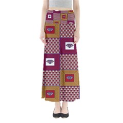 African Fabric Diamon Chevron Yellow Pink Purple Plaid Maxi Skirts