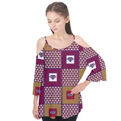 African Fabric Diamon Chevron Yellow Pink Purple Plaid Flutter Tees