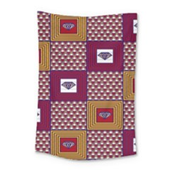 African Fabric Diamon Chevron Yellow Pink Purple Plaid Small Tapestry