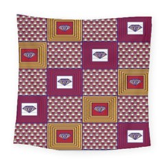 African Fabric Diamon Chevron Yellow Pink Purple Plaid Square Tapestry (large)