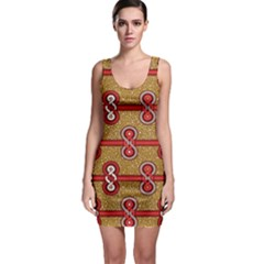 African Fabric Iron Chains Red Purple Pink Sleeveless Bodycon Dress by Alisyart
