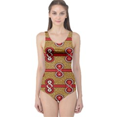 African Fabric Iron Chains Red Purple Pink One Piece Swimsuit