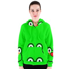 Animals Frog Face Green Women s Zipper Hoodie