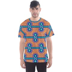 African Fabric Iron Chains Blue Orange Men s Sport Mesh Tee by Alisyart