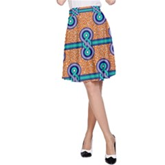 African Fabric Iron Chains Blue Orange A Line Skirt