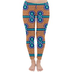 African Fabric Iron Chains Blue Orange Classic Winter Leggings
