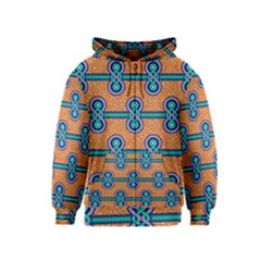 African Fabric Iron Chains Blue Orange Kids  Zipper Hoodie by Alisyart