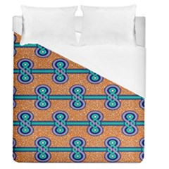 African Fabric Iron Chains Blue Orange Duvet Cover (queen Size) by Alisyart