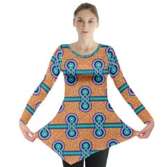 African Fabric Iron Chains Blue Orange Long Sleeve Tunic