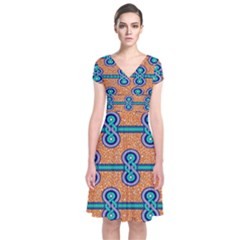 African Fabric Iron Chains Blue Orange Short Sleeve Front Wrap Dress