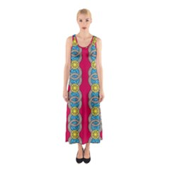 African Fabric Iron Chains Red Yellow Blue Grey Sleeveless Maxi Dress