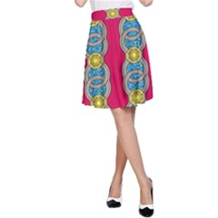 African Fabric Iron Chains Red Yellow Blue Grey A Line Skirt