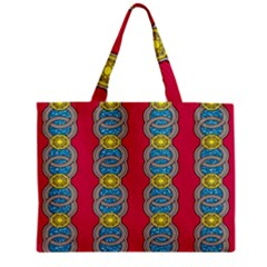 African Fabric Iron Chains Red Yellow Blue Grey Zipper Mini Tote Bag by Alisyart