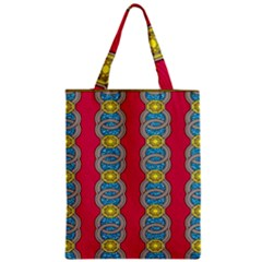 African Fabric Iron Chains Red Yellow Blue Grey Zipper Classic Tote Bag