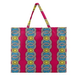 African Fabric Iron Chains Red Yellow Blue Grey Zipper Large Tote Bag