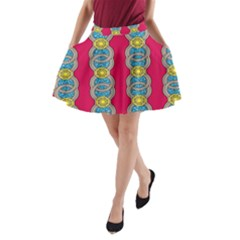 African Fabric Iron Chains Red Yellow Blue Grey A Line Pocket Skirt by Alisyart