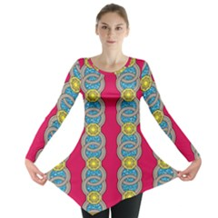 African Fabric Iron Chains Red Yellow Blue Grey Long Sleeve Tunic  by Alisyart