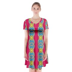 African Fabric Iron Chains Red Yellow Blue Grey Short Sleeve V Neck Flare Dress by Alisyart