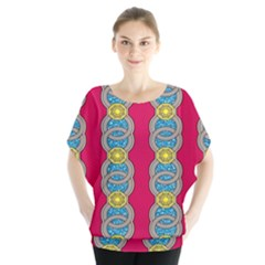 African Fabric Iron Chains Red Yellow Blue Grey Blouse