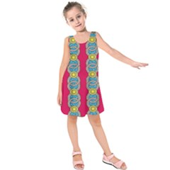 African Fabric Iron Chains Red Yellow Blue Grey Kids  Sleeveless Dress by Alisyart