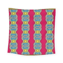 African Fabric Iron Chains Red Yellow Blue Grey Square Tapestry (small) by Alisyart