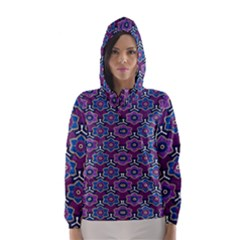 African Fabric Flower Purple Hooded Wind Breaker (women) by Alisyart