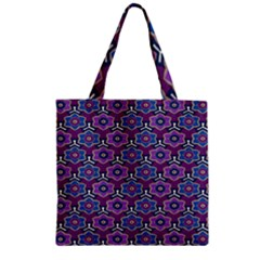 African Fabric Flower Purple Zipper Grocery Tote Bag