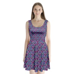 African Fabric Flower Purple Split Back Mini Dress
