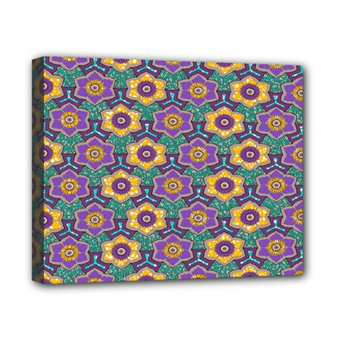 African Fabric Flower Green Purple Canvas 10  X 8