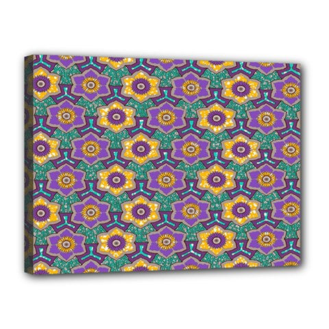 African Fabric Flower Green Purple Canvas 16  X 12