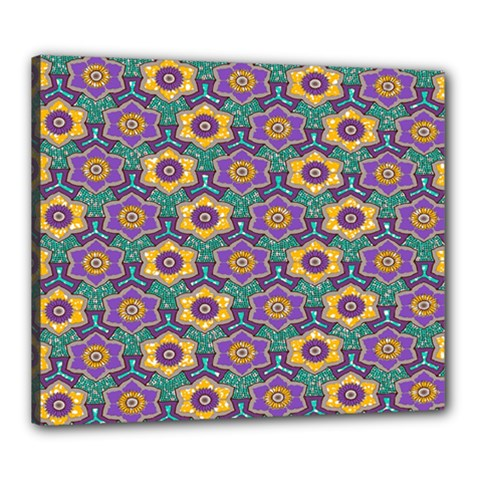African Fabric Flower Green Purple Canvas 24  X 20