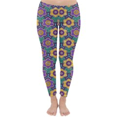 African Fabric Flower Green Purple Classic Winter Leggings