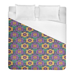 African Fabric Flower Green Purple Duvet Cover (full/ Double Size) by Alisyart