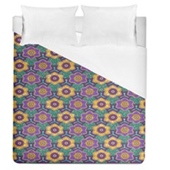 African Fabric Flower Green Purple Duvet Cover (queen Size)