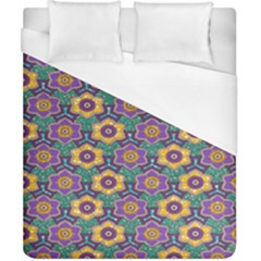 African Fabric Flower Green Purple Duvet Cover (california King Size) by Alisyart