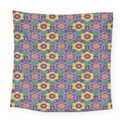 African Fabric Flower Green Purple Square Tapestry (large) by Alisyart