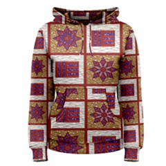 African Fabric Star Plaid Gold Blue Red Women s Pullover Hoodie