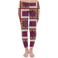 African Fabric Star Plaid Gold Blue Red Classic Winter Leggings