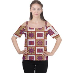 African Fabric Star Plaid Gold Blue Red Women s Cutout Shoulder Tee