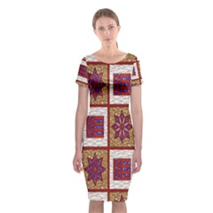 African Fabric Star Plaid Gold Blue Red Classic Short Sleeve Midi Dress