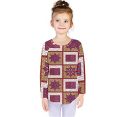 African Fabric Star Plaid Gold Blue Red Kids  Long Sleeve Tee