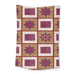 African Fabric Star Plaid Gold Blue Red Small Tapestry