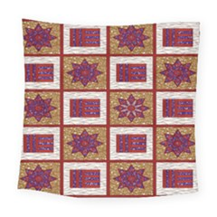 African Fabric Star Plaid Gold Blue Red Square Tapestry (large) by Alisyart