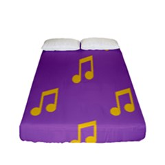 Eighth Note Music Tone Yellow Purple Fitted Sheet (full/ Double Size)