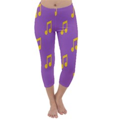 Eighth Note Music Tone Yellow Purple Capri Winter Leggings
