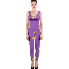 Eighth Note Music Tone Yellow Purple Onepiece Catsuit