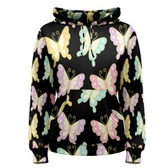 Butterfly Fly Gold Pink Blue Purple Black Women s Pullover Hoodie