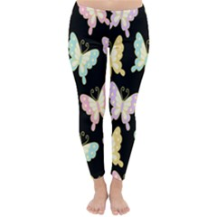 Butterfly Fly Gold Pink Blue Purple Black Classic Winter Leggings