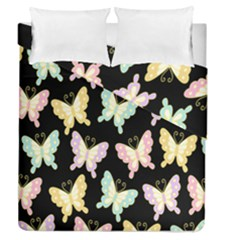 Butterfly Fly Gold Pink Blue Purple Black Duvet Cover Double Side (queen Size)